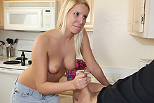 Vanessa Cage jerks off the handymans cock