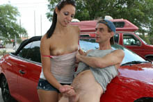 Ashley Storm gets what she wants, and loves giving strangers a tug job. Watch Claire give Public Handjob
